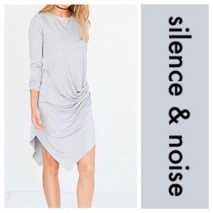 Silence & Noise Silver Drape Dress. Size small